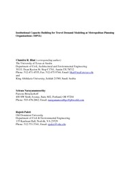 Institutional Capacity Building for Travel Demand Modeling