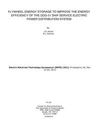 Flywheel Energy Storage to Improve the Energy Efficiency of