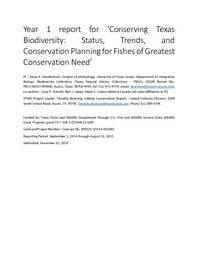 Year 1 Report For Conserving Texas Biodiversity Status Trends And Conservation Planning Fishes Of Greatest Need