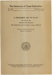 A Prescribed List of Plays For Use in the One-Act Play