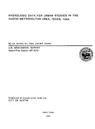 Hydrologic Data for Urban Studies In The Austin Metropolitan